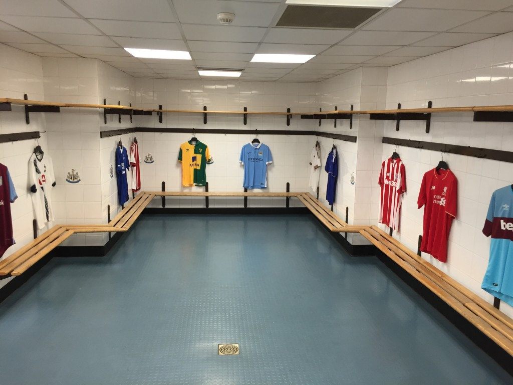 The away team dressing room isn't quite as luxurious!