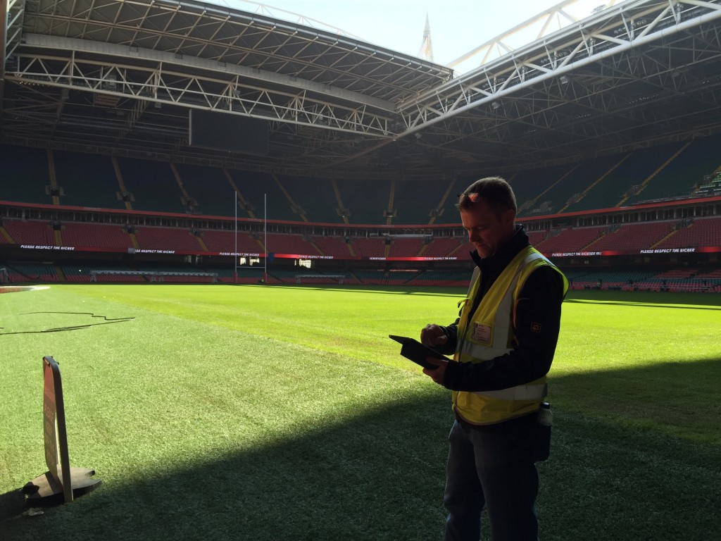 At work pitchside.
